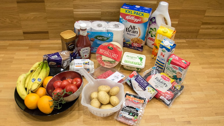 De 20 matvaror som ingick i undersökningen.