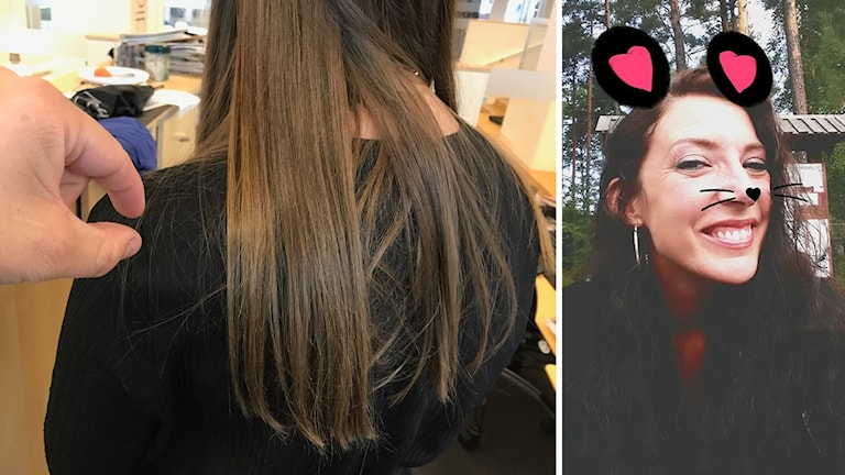 Michaela plockar hår från främlingar