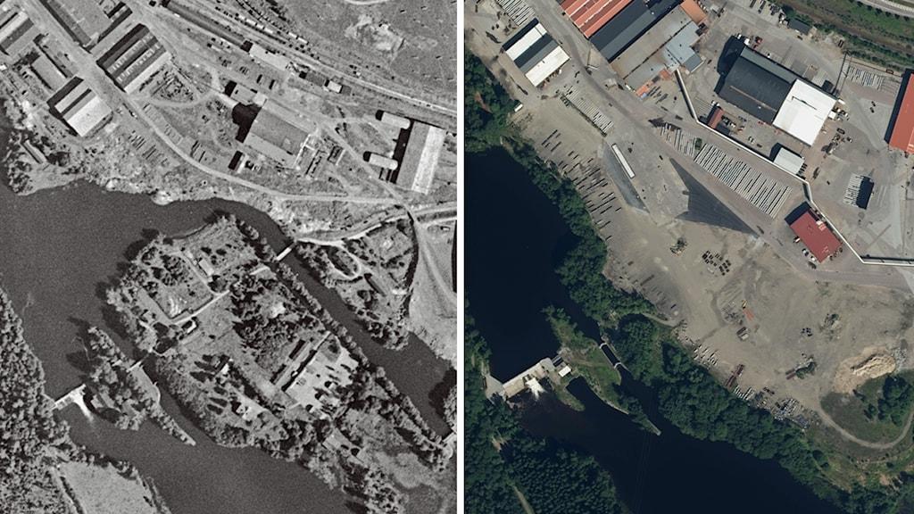 Flygfoton över Uddnäs 1957 och 2014 visar hur ön i kanalen blivit ett med landområdet.
