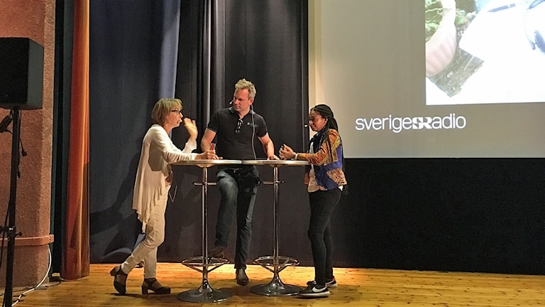 Li Hellström, Richard Myrenberg, Palmira Koukkari Mbenga i Folkets Hus i Surahammar.