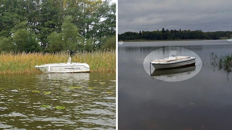 Två av de båtar som påträffades utan motorer utanför Gäddeholm.