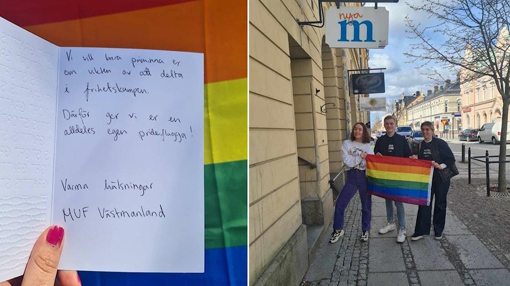 Prideflagga med ett brev och tre ungdomar.