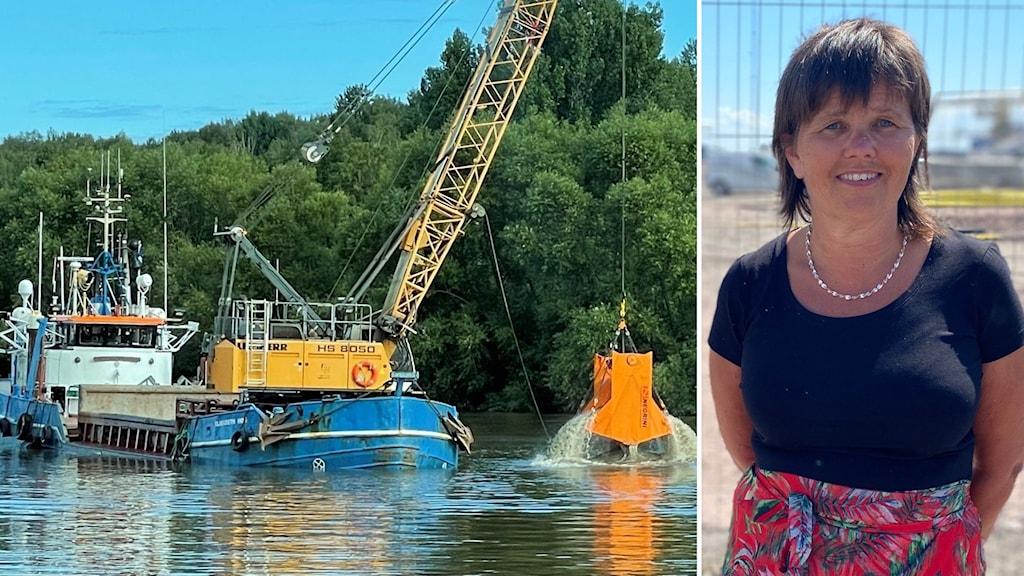 Två bilder har klippts ihop, en visar ett muddringsverk i Mälaren, den andra VD:n för Mälarhamnar AB.