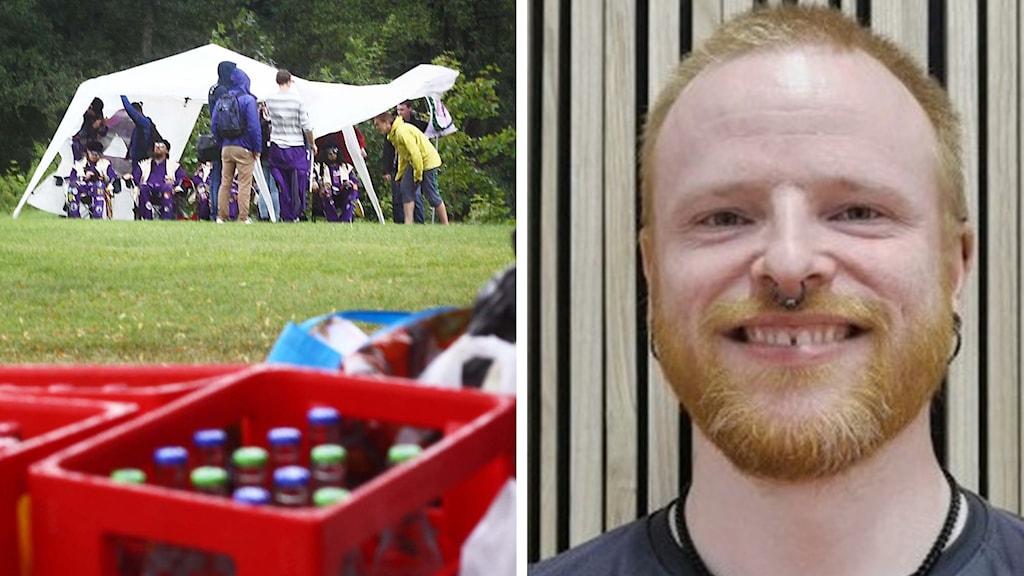 Ett par studenter som reser tält, och Christian Norstedt, eventansvarig på Mälardalens studentkår i Eskilstuna.