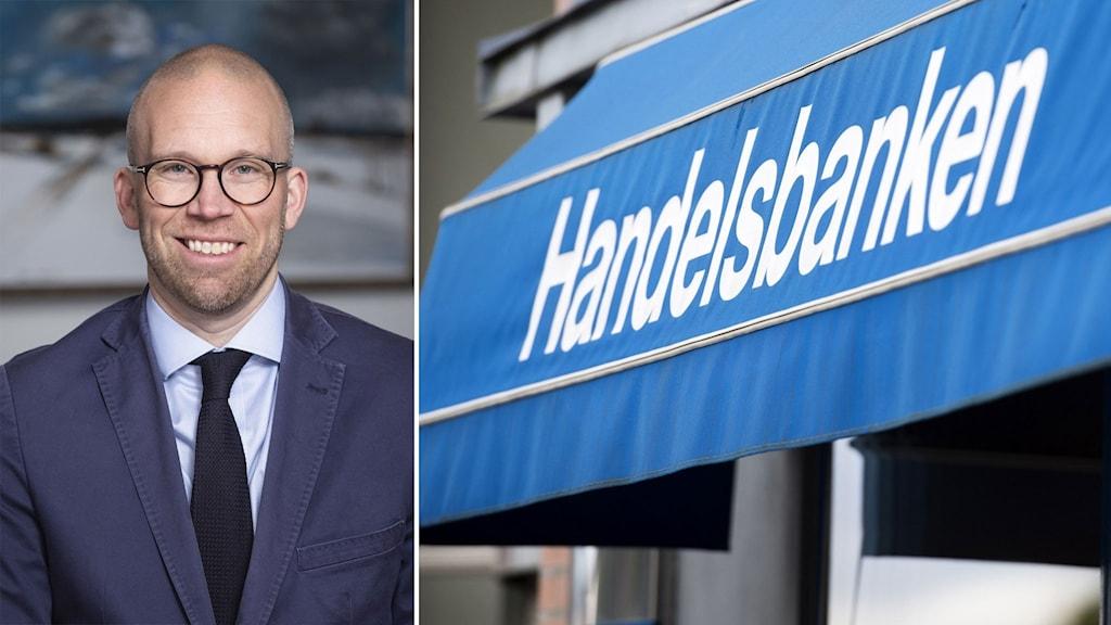 Peter Bergqvist, kontorschef på Handelsbanken i Västerås City bredvid en markis med Handelsbankens logga på.