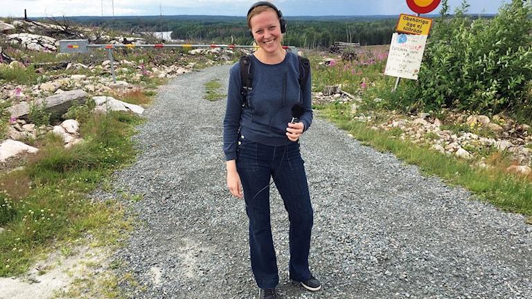 Sandra Fonnisson i brandområdet under #stafettmanland.