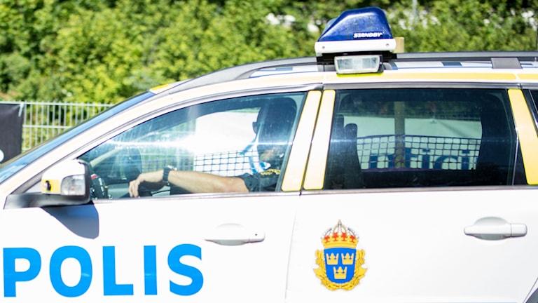 Polisbil under Power Meet i Västerås.