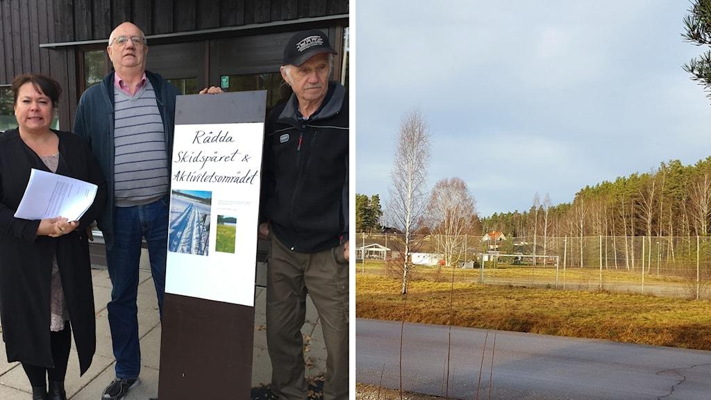 Anna-Lena Svensson, Tommy Larnhed och Runo Lundmark protesterar mot äldreboende i Uggelbo Fagersta