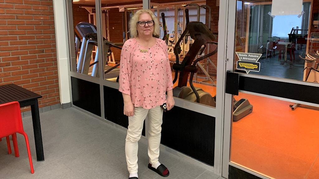 Viveca Persson, badhuschef vid det oanvända gymmet