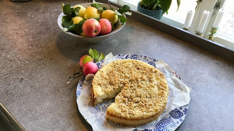 Linnéas äppelcheesecake.