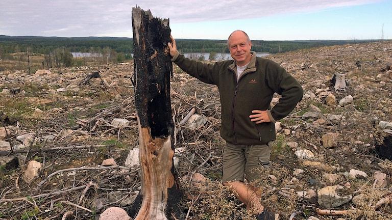 Trädgårdsmästare Per Bürger i skogsbrandsområdet.