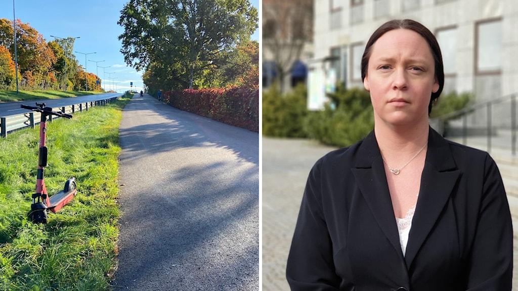 Två bilder: politikern Anna Thunell, olycksplatsen