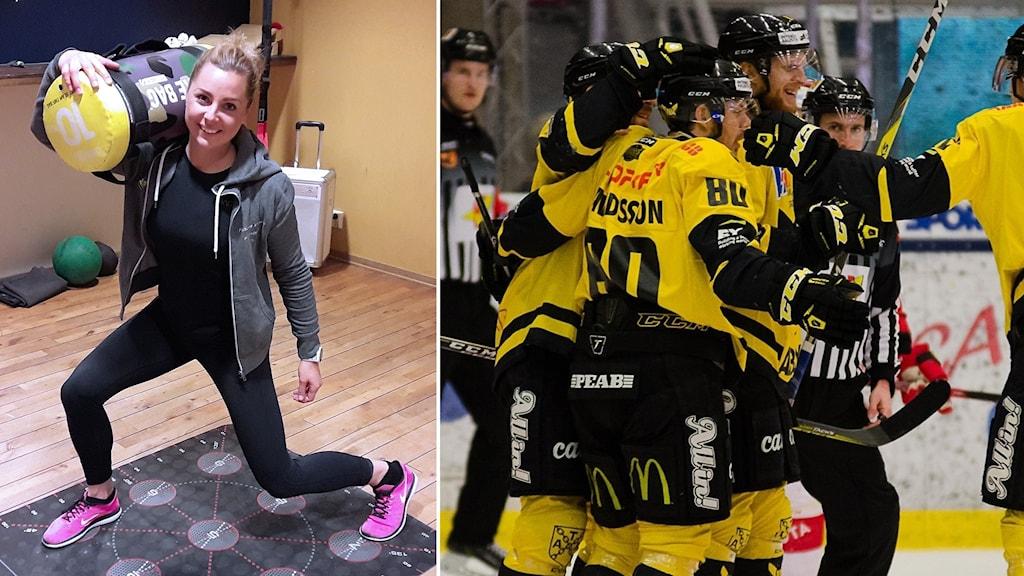 Fystränaren Helena Ambjörn tränar VIK Hockey.