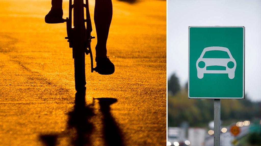 Cyklist och skyllt på motortrafikled