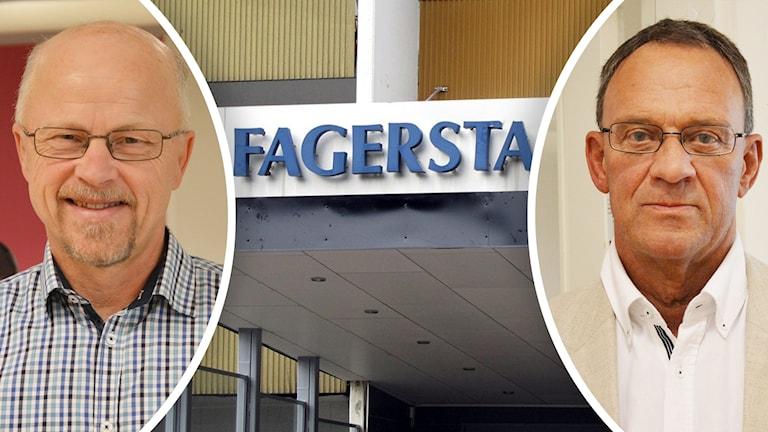 Jan Johansson (M) och Stig Henriksson (V) diskuterar Fagersta budget.