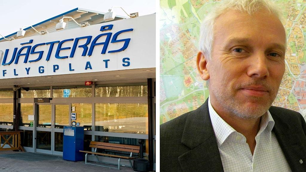 Lars Kallsäby (C), ordförande kommunfullmäktige Västerås, samt Västerås flygplats.
