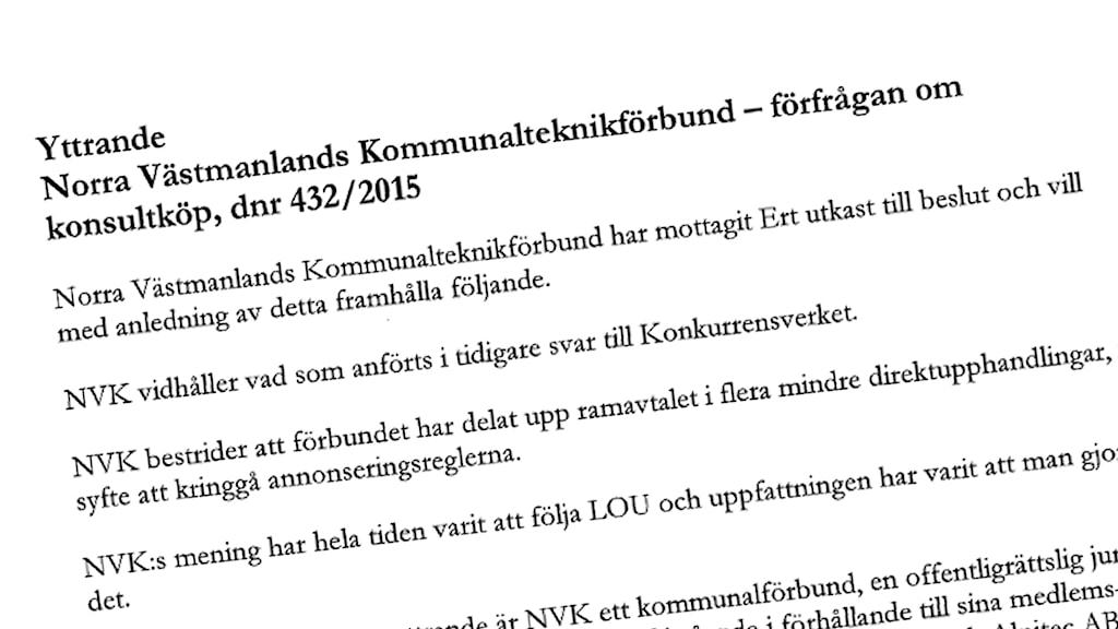 NVKs yttrande till Konkurrensverket.