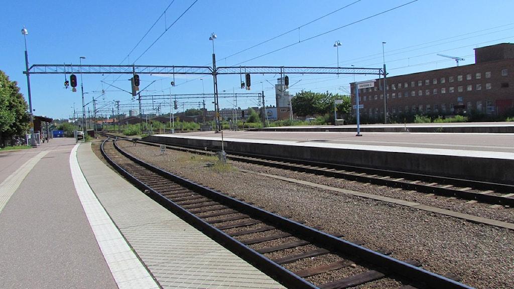 Tågspår vid Centralstationen i Västerås.
