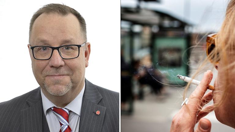 Olle Thorell (S) och rökare vid busshållplats.
