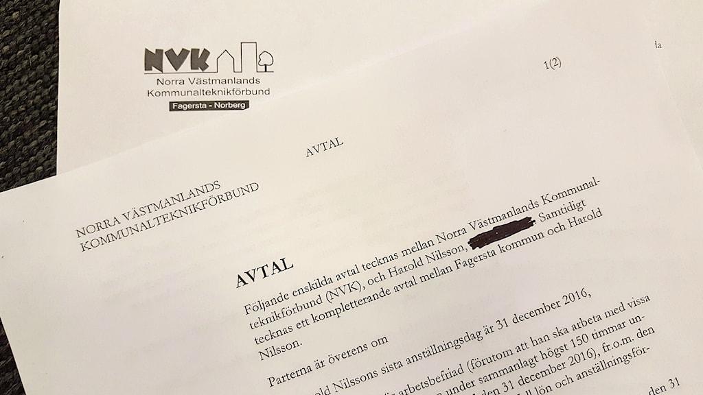 Avtalet mellan NVK och Harold Nilsson