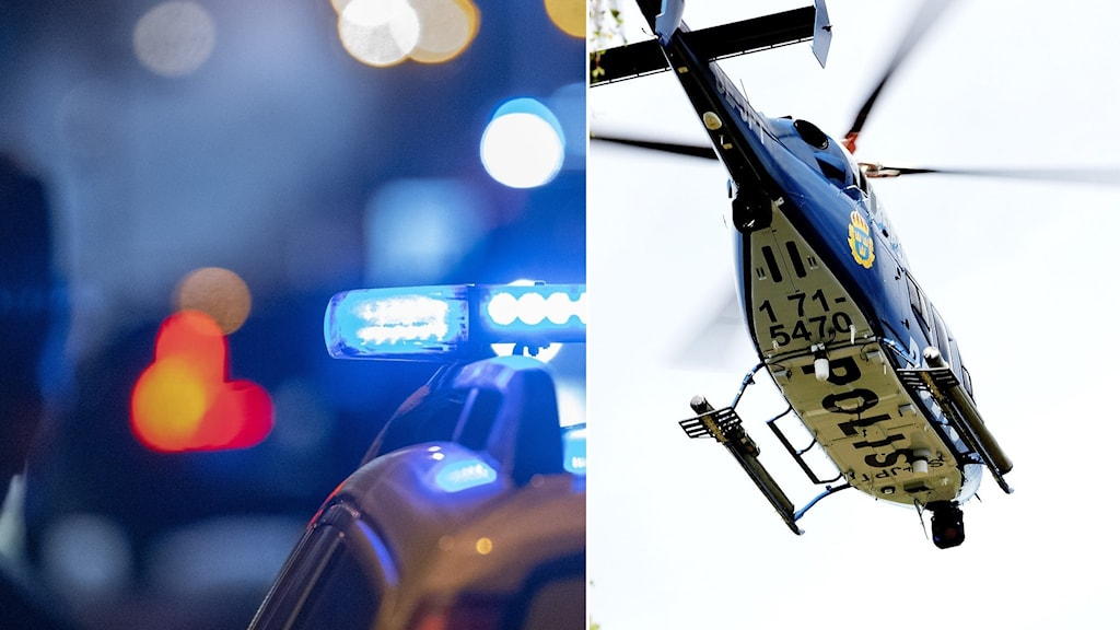 Polisbil och polishelikopter.