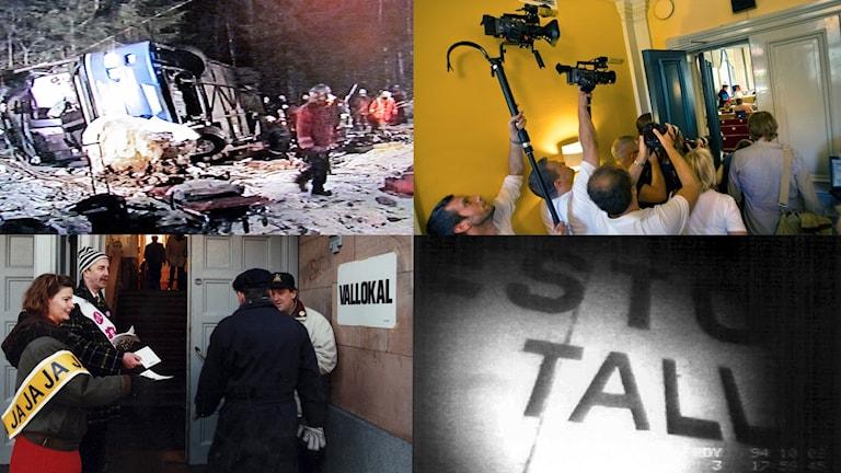 Bussolyckan i Ängelsberg, rättegång efter Arbogamorden, Mejerihusockupationen och Estoniakatastrofen.