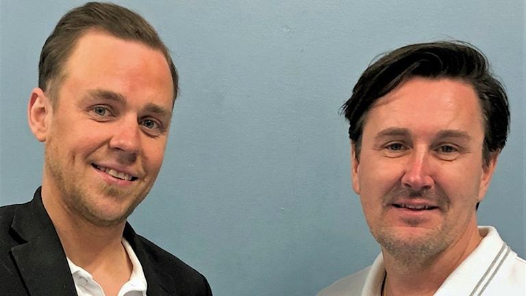 Sportchefen för herrarna, Fredrik Åhlberg tillsammans med nya tränaren Nicklas Jonsson.