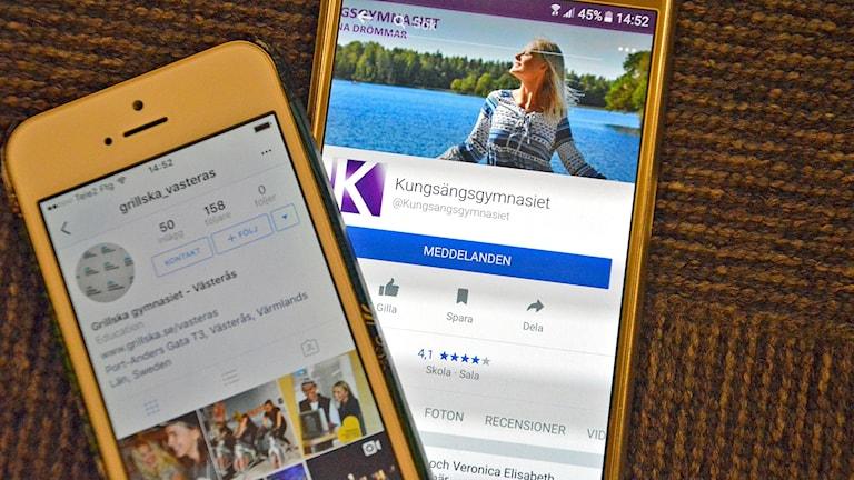 mobiltelefoner visar sociala medier