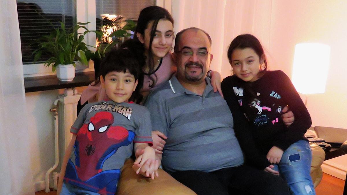 Ayad Awini med barnen Kenan, Weam och Lana.