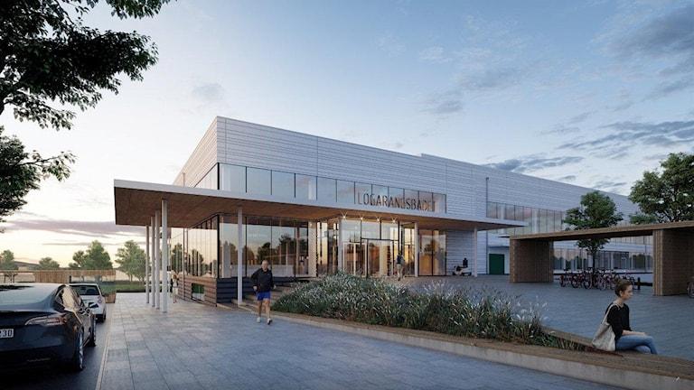Entrén till det nya badet, illustrerad av arkitektfirman.