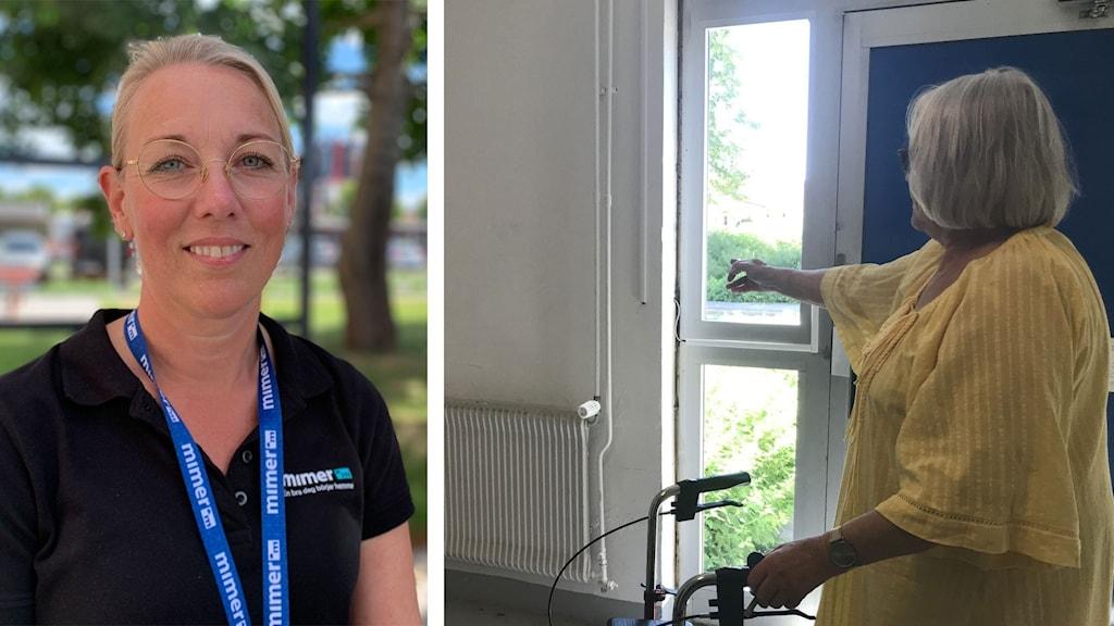 Bostadsbolaget hjälper Lena Johansson, till höger, med ett eluttag. Mimers Sara Nordström, till vänster.