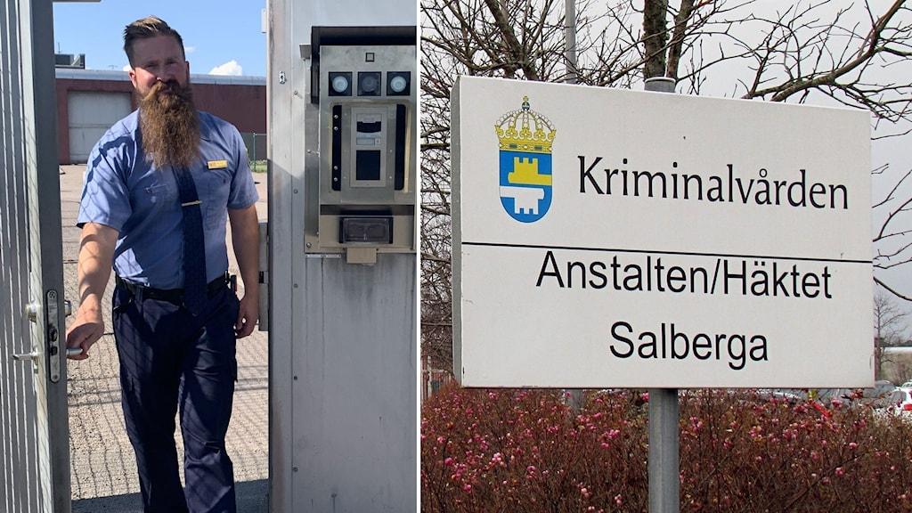 Anders Berg är ställföreträdande häktes- och anstaltschef på Salbergaanstalten. Splitbild med Salbergaanstaltens skylt.