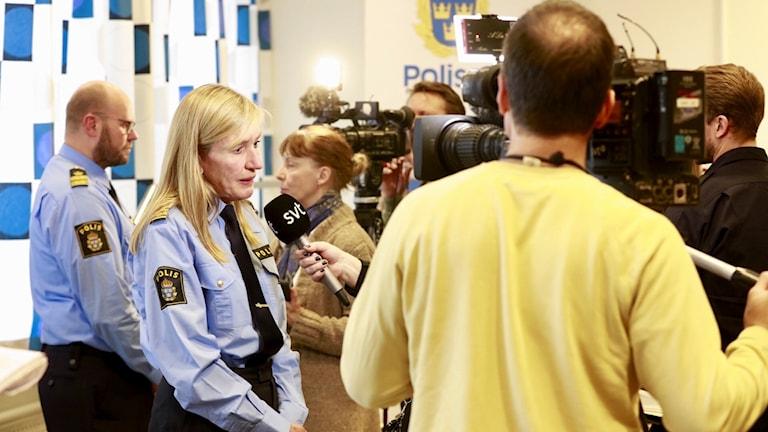 Carin Götblad vid lördagens pressträff