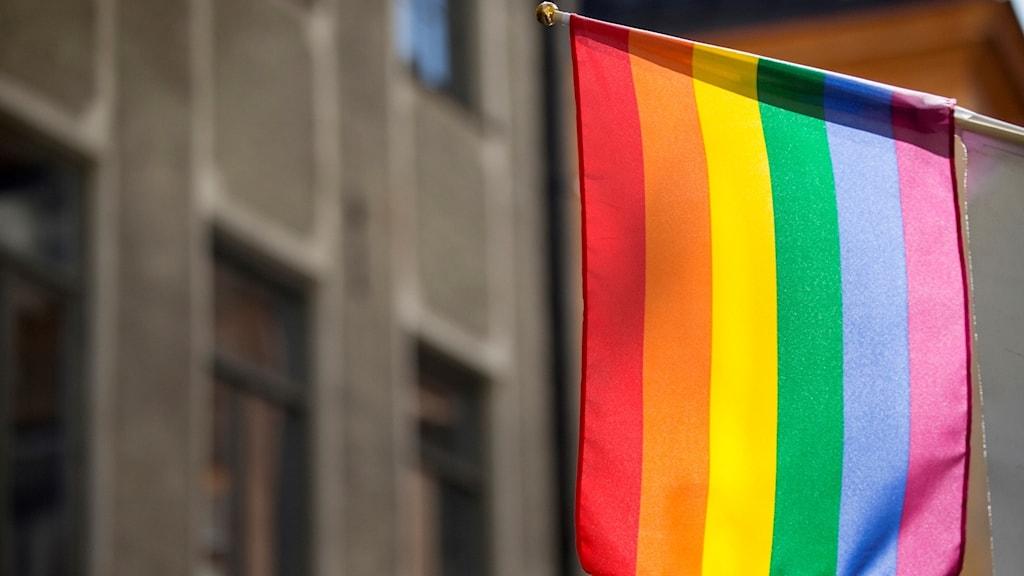 En prideflagga på en husfasad