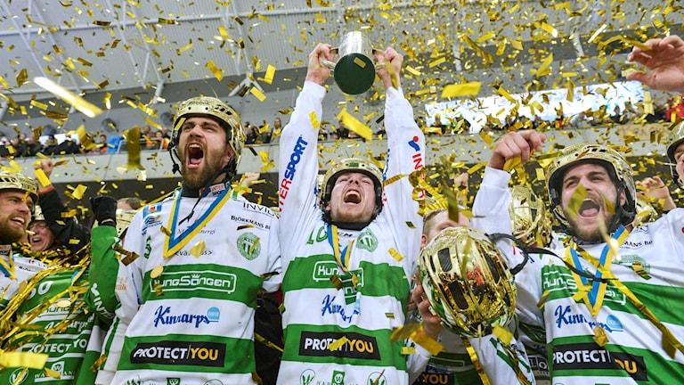 VSK Bandy jublar över SM-guldet 2016.