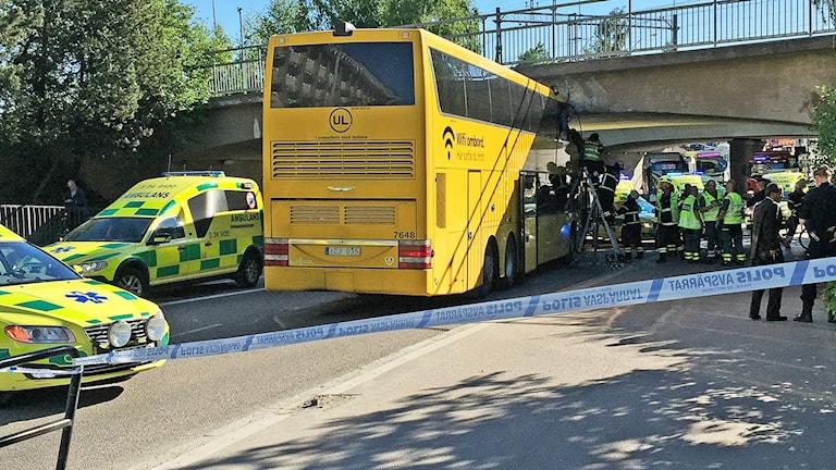 Bussolycka vid Röda torget i Västerås.