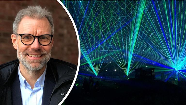 Alf Westerdahl på Västerås marknad och näringsliv och lasershow.