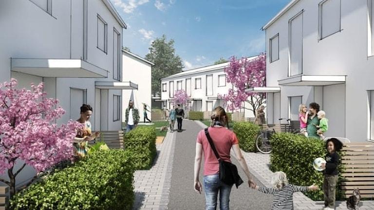 en skiss på hur det nya bostadsområdet kan se ut. en gata med vita hus och människor.