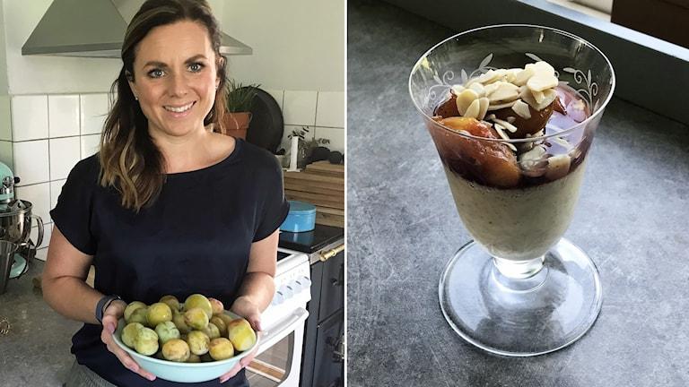 Linnéa Seidel och vaniljpannacotta.
