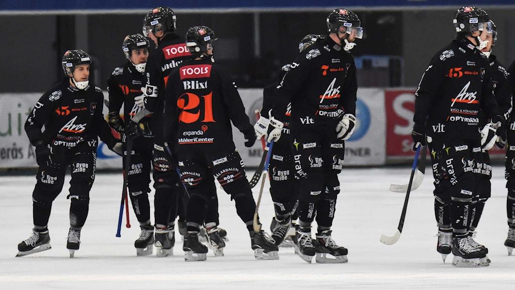 Tillberga Bandy firar efter ett mål. Foto: Stefan Lindgren.