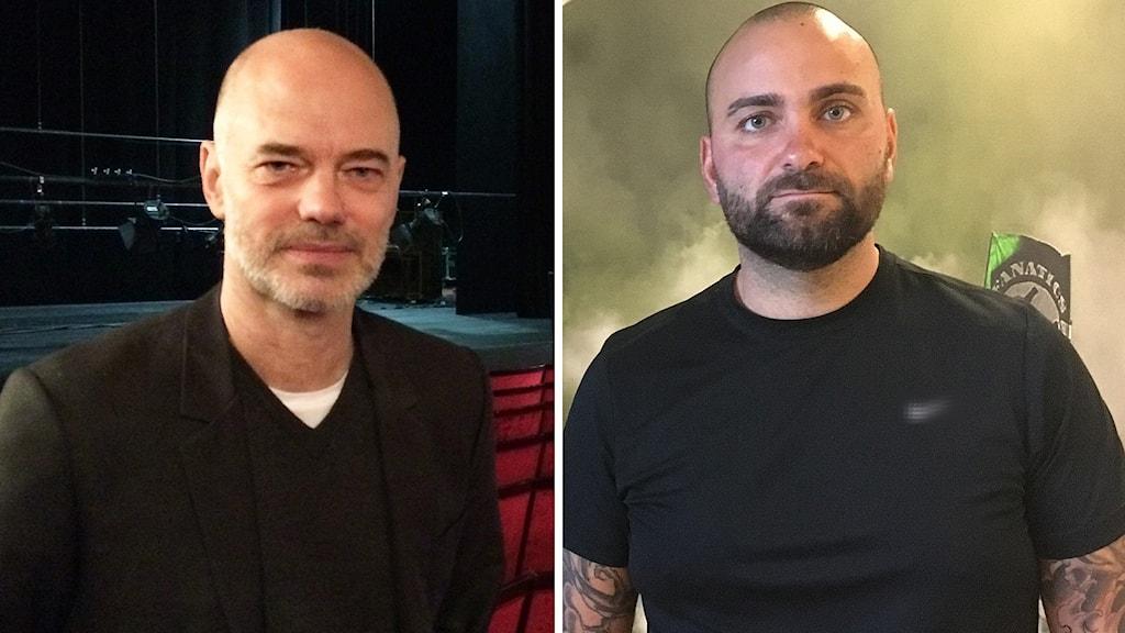Teaterchef Niklas Hjulström och Andreas Dayan klubbchef VSK Fotboll.