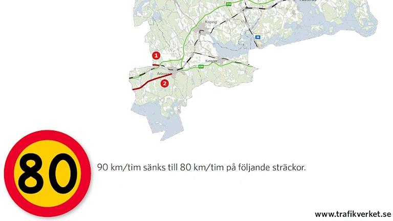 Karta över vägar med sänkt hastighet