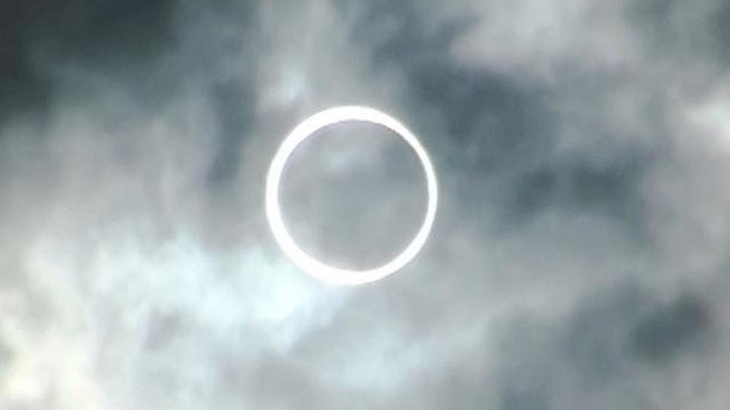 Ringformad solförmörkelse över Japan 21 maj 2012.