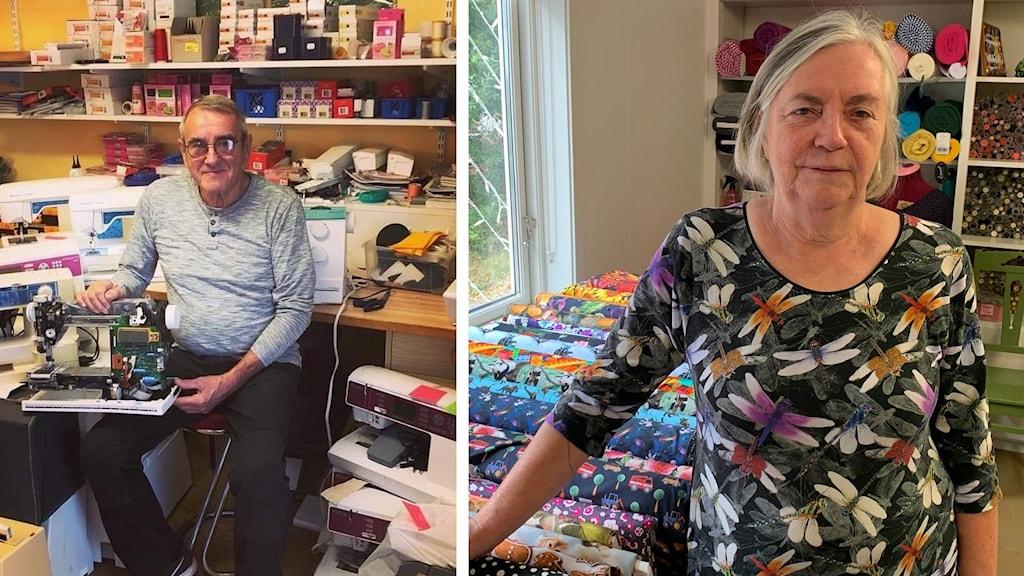 Stig Sandberg som driver Hallsta Symaskiner och Mariann Söderlund som driver Marianns Systuga