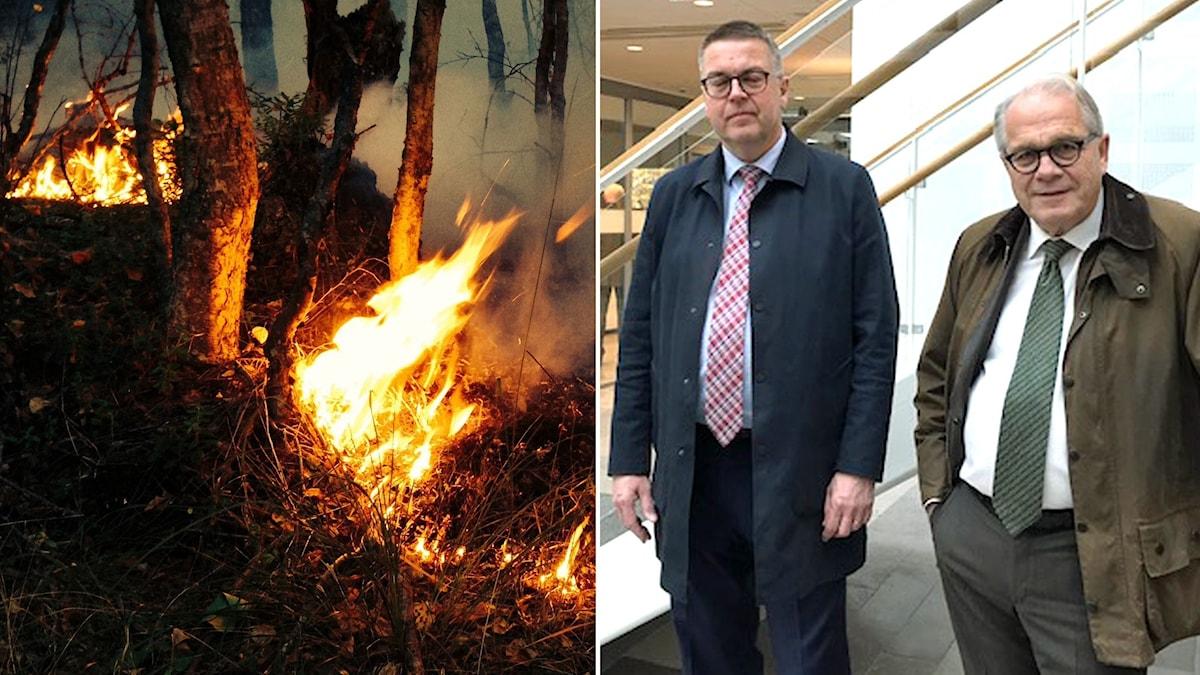 Försvarsadvokaten Rolf Klintfors till vänster.