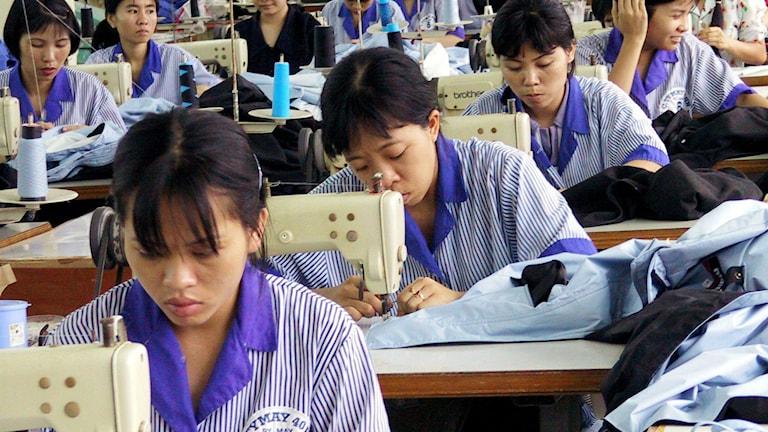 Textilarbetare i Vietnam. Foto: Richard Vogel, TT