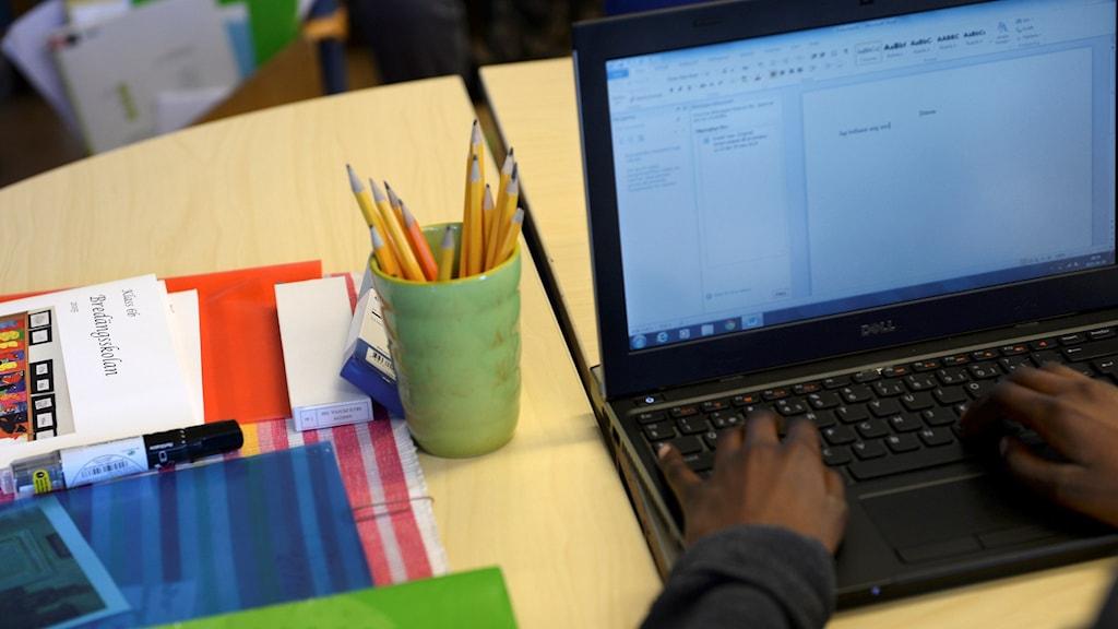 Bild på ett par händer som skriver på en bärbar dator. Foto: Fredrik Sandberg/TT