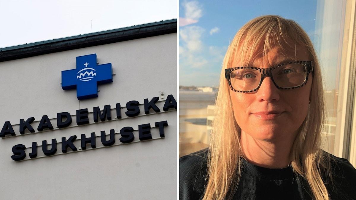 Vit husfasad med ett blått plustecken och texten akademiska sjukhuset och en blond kvinna med glasögon.