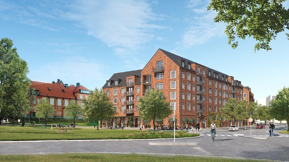 Nytt planerad bostadshus vid Seminarieparken.