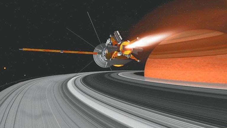 En animation av Saturnus och rymdfarkosten Cassini.